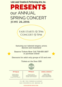 Annual Spring Concert 2016 @ The Corner Academy, PS 189 | New York | United States