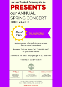 Annual Spring Concert 2017 @ The Corner Academy, PS 189 | New York | United States